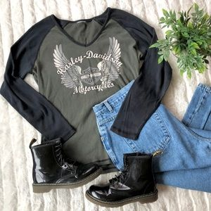 Harley Davidson Y2K Raglan Baseball Tee